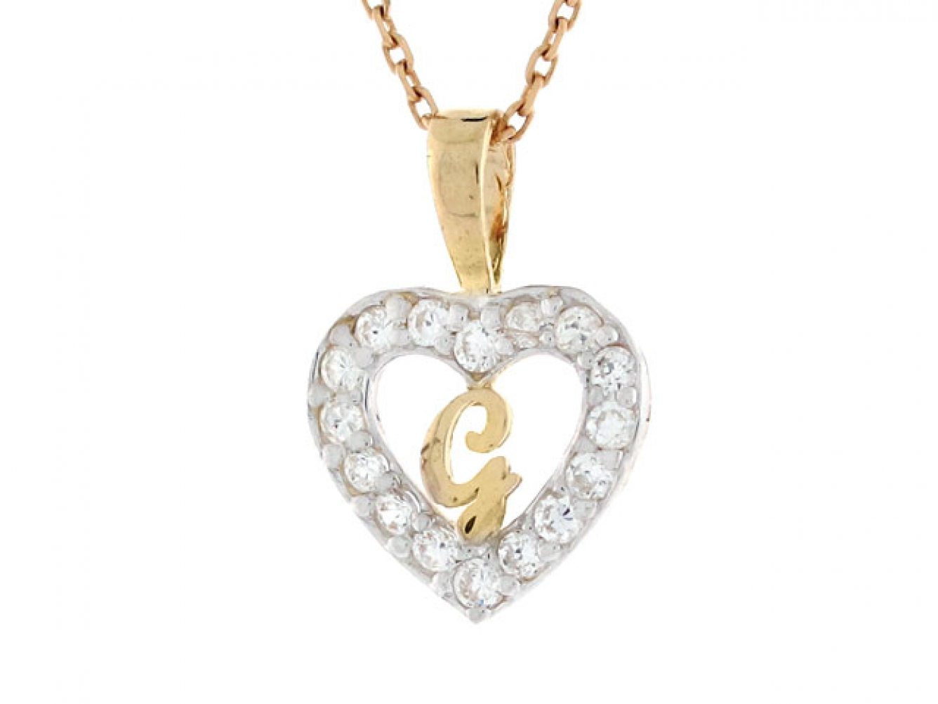 6ac4b542ac439 Product Description. Gold Heart Shape Letter  g  Initial CZ Ring Jewelry
