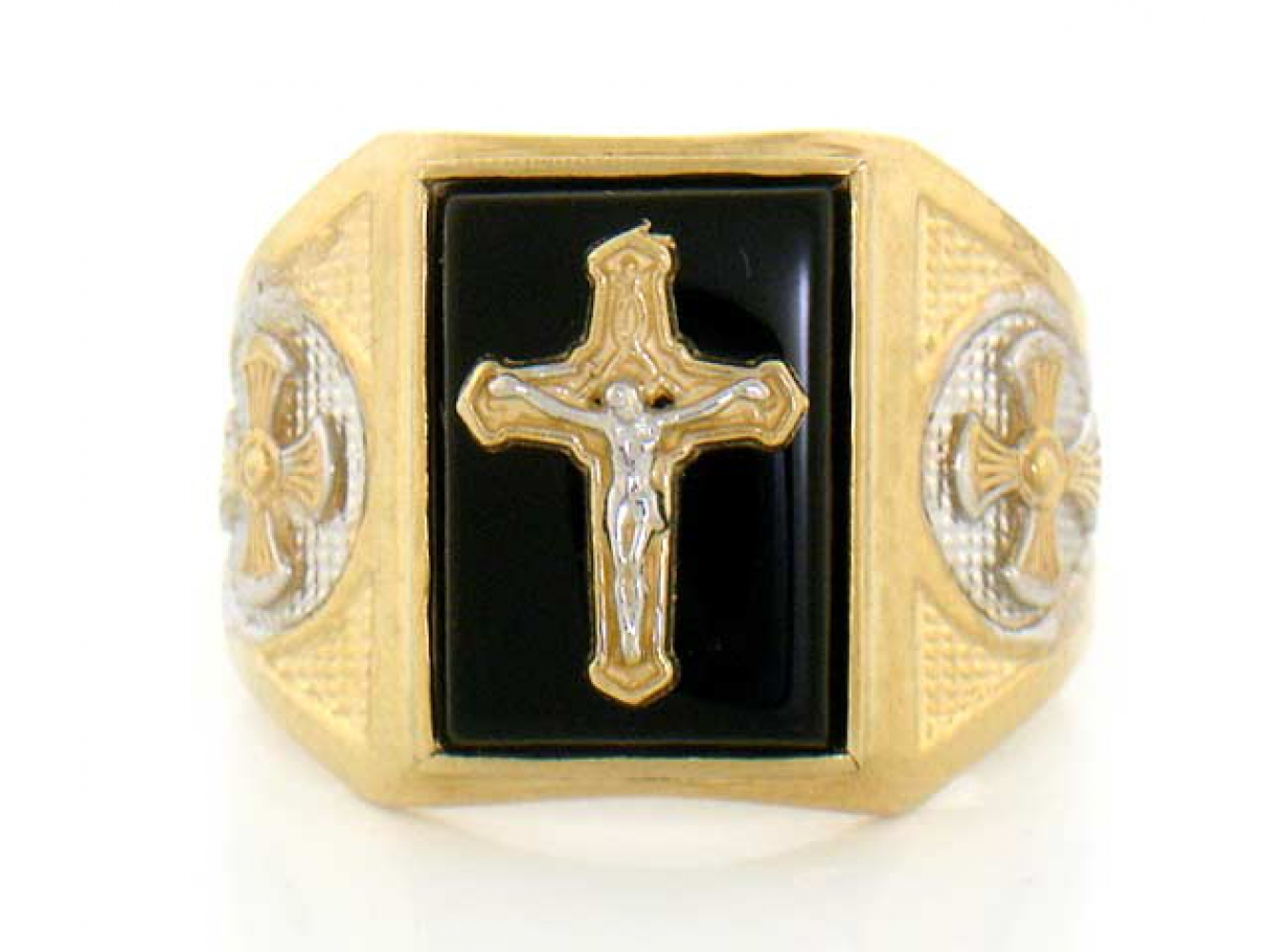 10k 14k solid yellow gold onyx cross religious mens ring