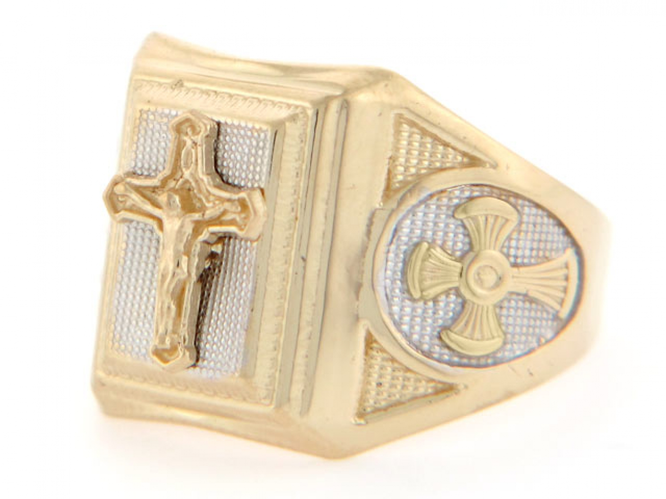 10k 14k two tone gold religious crucifix cross mens ring. Black Bedroom Furniture Sets. Home Design Ideas