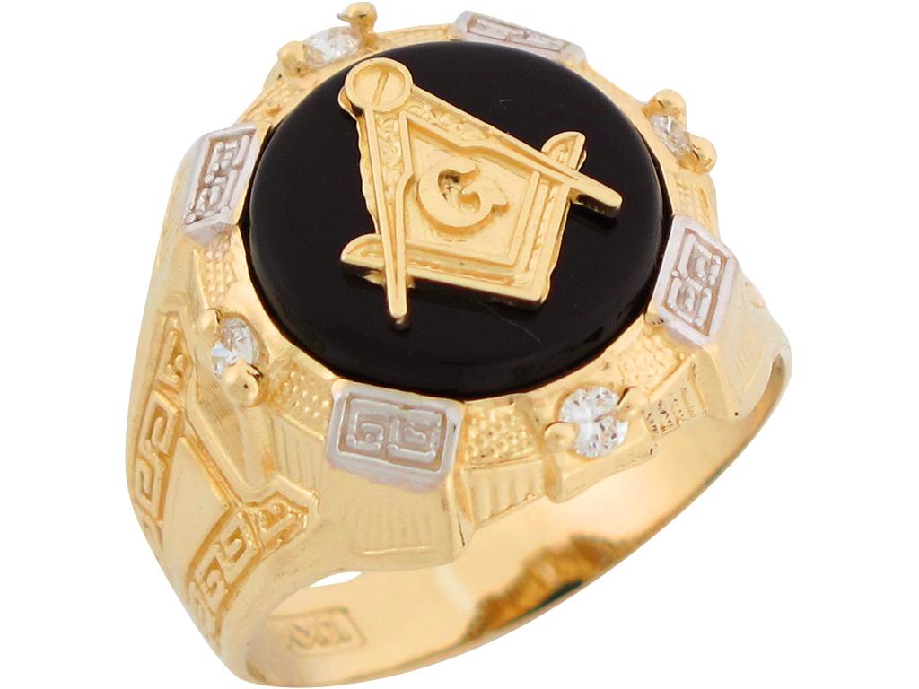 10k 14k Two Tone Gold Onyx White Cz Freemason Masonic
