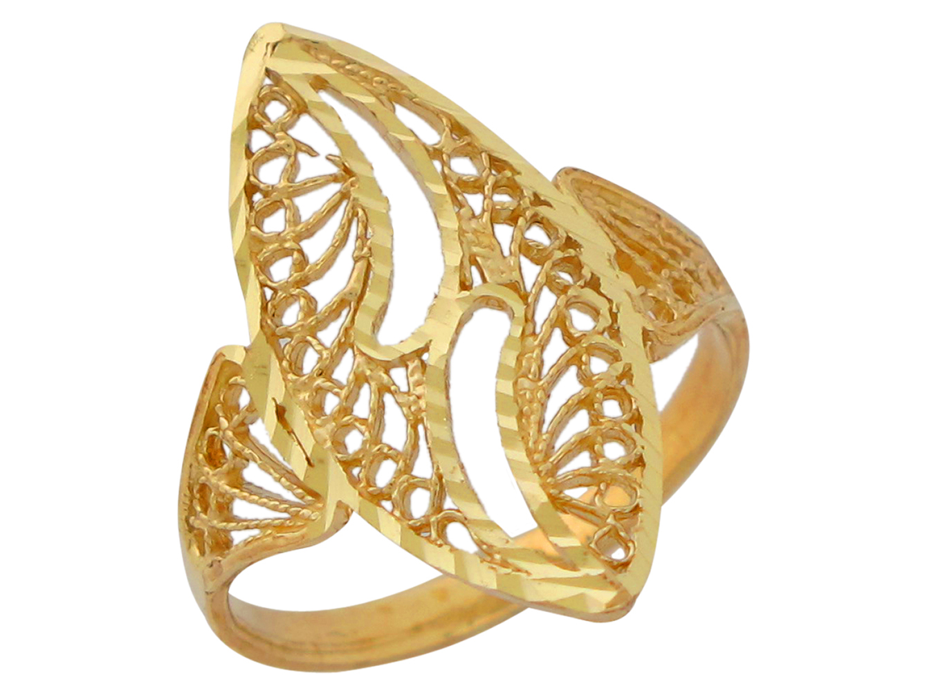 10k or 14k Yellow Gold Modern Filigree Ladies Ring | eBay