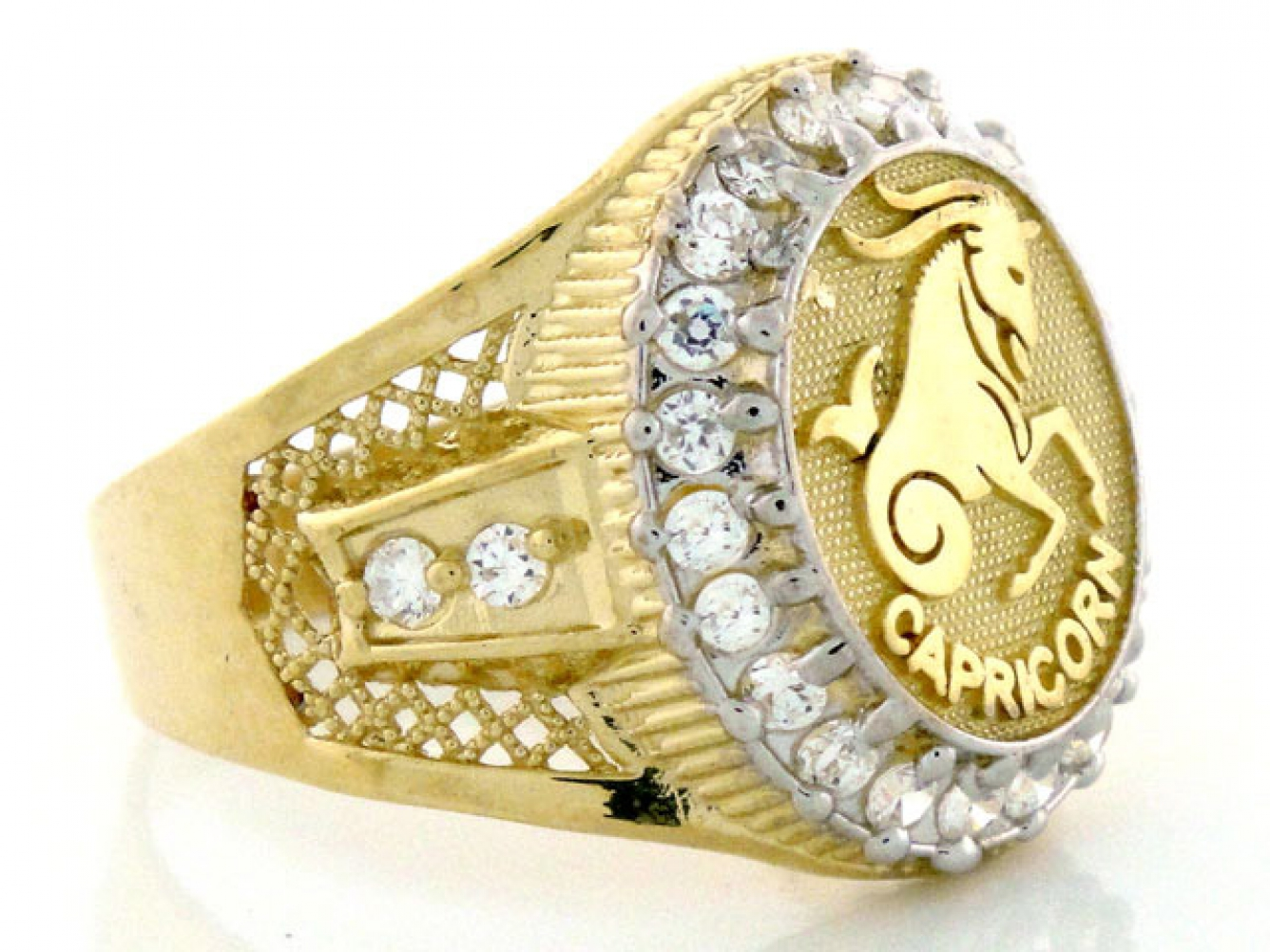 10k 14k Solid Yellow Gold Mens Zodiac Cz Ring