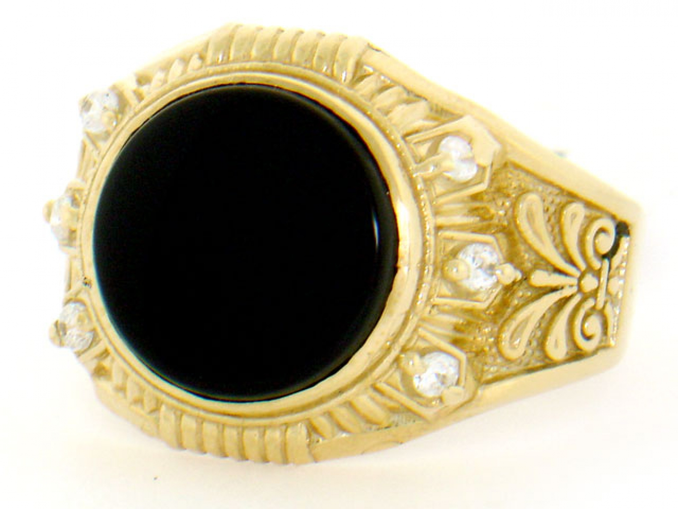 10k 14k solid yellow gold round onyx cz mens ring. Black Bedroom Furniture Sets. Home Design Ideas