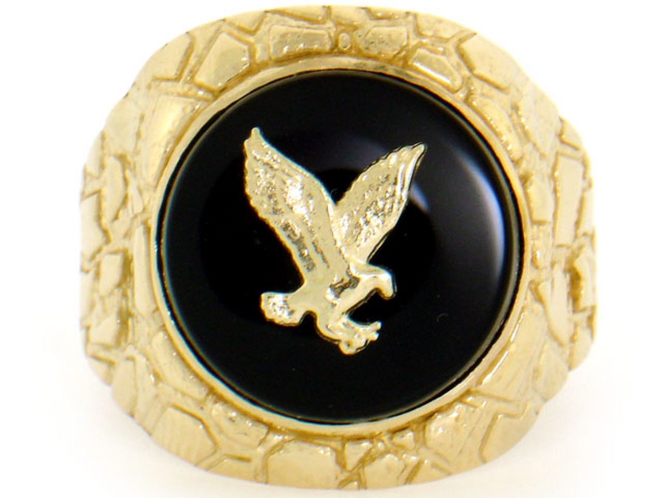 10k 14k solid yellow gold nugget round onyx eagle mens for 10k gold jewelry