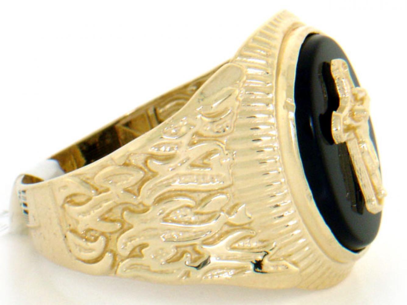 10k 14k solid gold oval onyx crucifix jesus cross mens ring. Black Bedroom Furniture Sets. Home Design Ideas