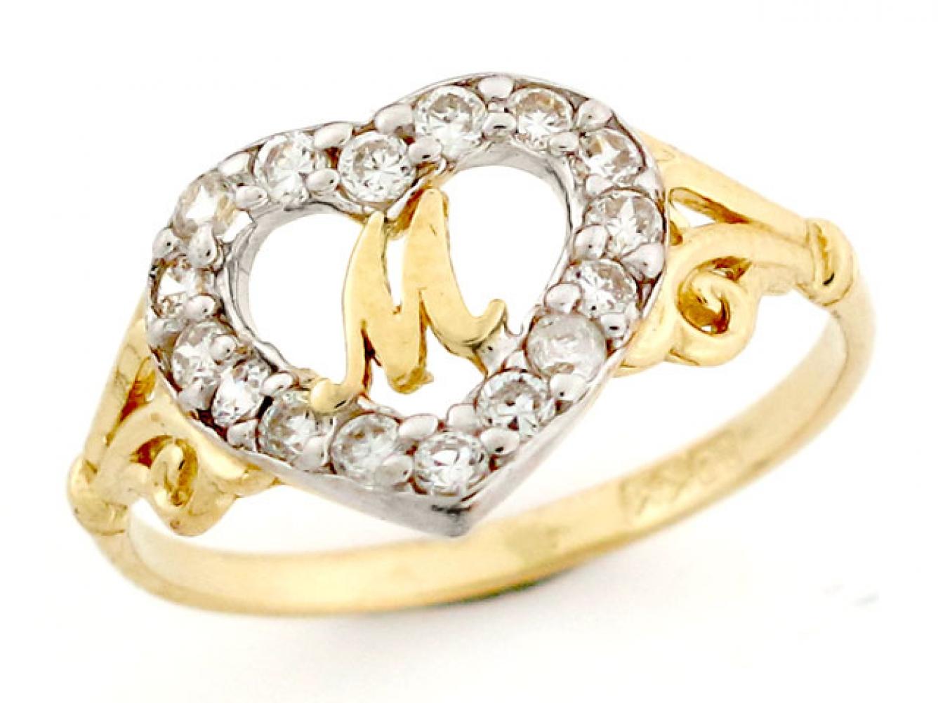 M Letter In Ring 10k / 14k Gold ...