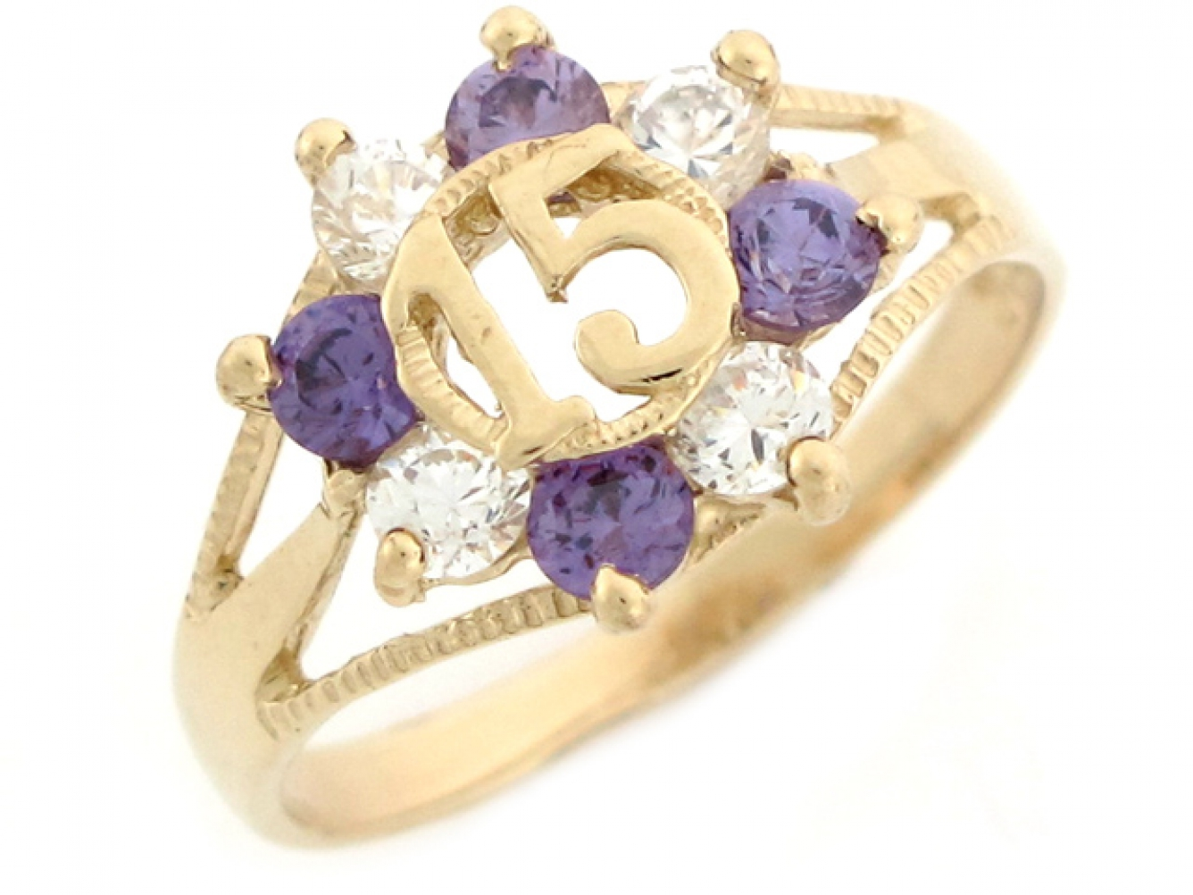 15 Anos Rings: 10k / 14k Yellow Gold Purple And White CZ Quinceanera 15