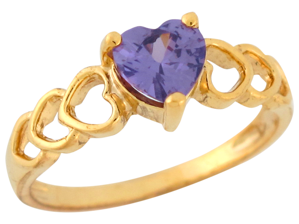 10k 14k yellow gold heart shaped simulated amethyst. Black Bedroom Furniture Sets. Home Design Ideas